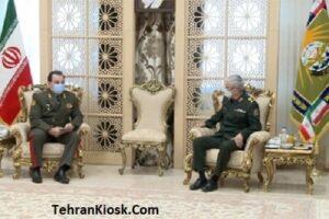 دیدار وزیر دفاع تاجیکستان با حضور در محل ستاد کل نیروهای مسلح با سرلشکر باقری